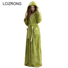 efd82c6a63 Winter Extra Long Warm Thick Hooded Bathrobe Women Men Sexy Kimono Long  Sleeve Ankle Bath Robe Unisex Dressing Gown Female