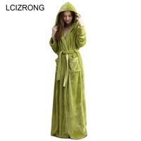 Winter Extra Long Warm Thick Hooded Bathrobe Women/Men Sexy Kimono Long Sleeve Ankle Bath Robe Unisex Dressing Gown Female