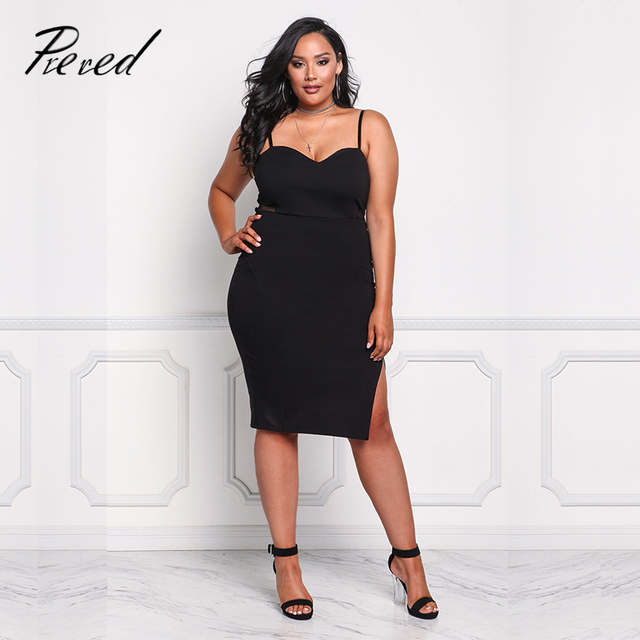 36a385b66a7 Prered Natural Plus Size Women Dress Sexy Club Spaghetti Strap Bodycon  Dress Plus Size Sleeveless V-Neck Party Dresses Vestidos