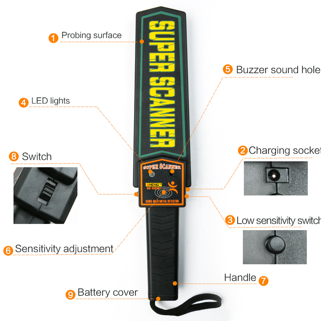 High Sensitivity Metal Detector Scanners Portable Handheld Security Super Scanner Tool Finder Electronic Measuring Tools brand new high sensitivity mini portable folding handheld metal detector ts80 guard security scanner sound light vibration alarm