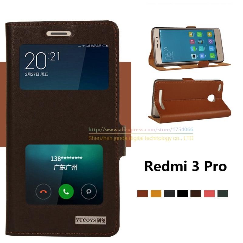 imágenes para Para redmi 3 s bolso del teléfono, de calidad superior de cuero genuino natural imán ventana cubierta del soporte del tirón para xiaomi redmi 3 pro redmi3 pro
