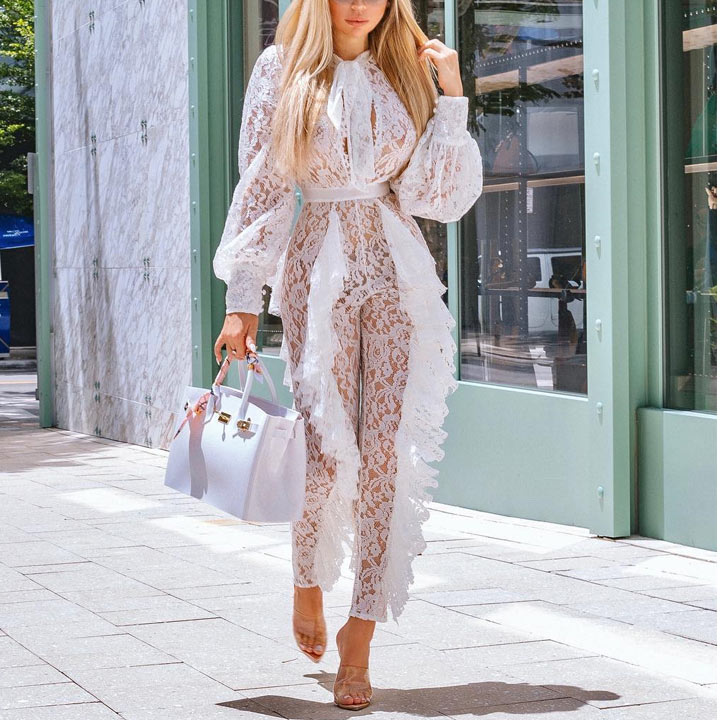 Misstyle Embroidery Skinny Ruffle Women Jumpsuit 2018 Christmas New White High Waist Summer Jumpsuit Hollow Out Elegant Jumpsuit