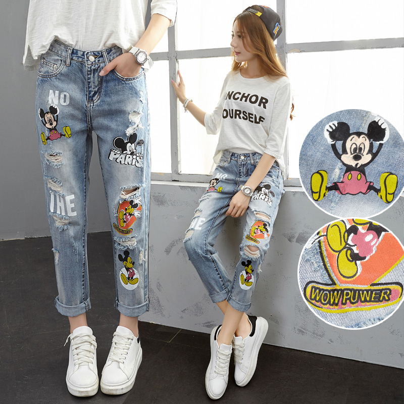 High Waist Boyfriend Jeans For Women Cartoon Letter Printed Jeans Loose Casual Ripped Holes Denim Pants Trousers Plus Size L562 браслеты