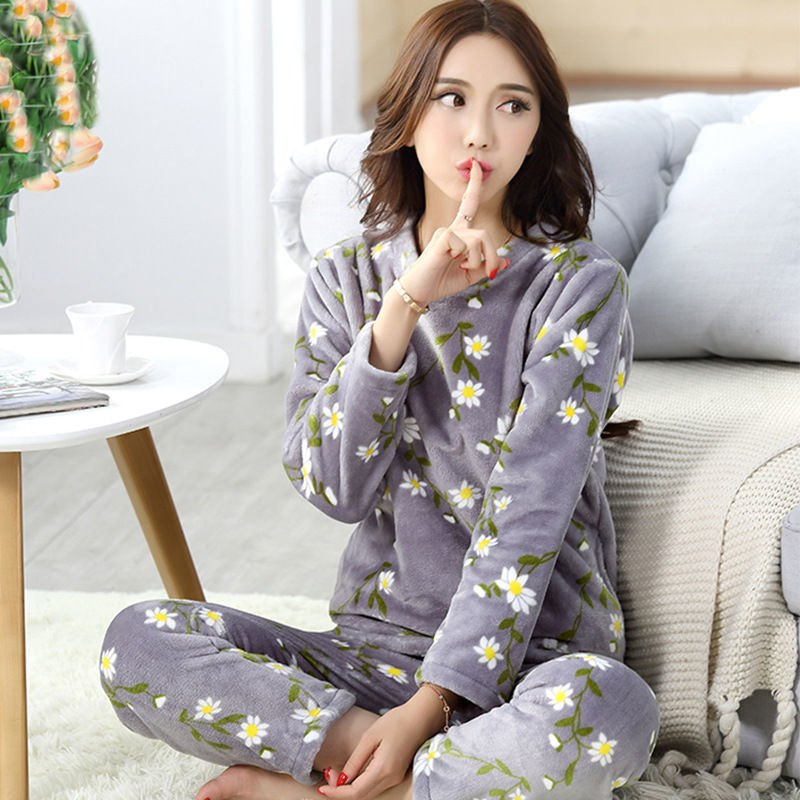 High Quality Women Pajama Sets Winter Soft Thicken Cute Cartoon Flannel Sleepwear 2 pcs/Set Tops + Warm Pants Home Clothes Mujer 93