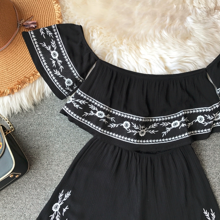 NiceMix Ruffles 2019 Off Shoulder Embroidery Jumpsuit Casual Sexy Women Bohemian Short Summer Playsuit Ethnic Beach Holiday Romp 6