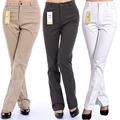 Women spring new big size show slim high waist cotton casual pants trousers micro speaker