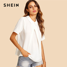 SHEIN White Overlap Fold Plain Top Women Peter Pan Collar Short Sleeve Button Soild Blouse 2018 Summer Weekend Casual Blouse