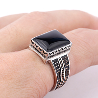 Black Agate Ring for Men 925 Sterling Silver Geometric Rectangle Small Zircon Ring Fine Jewelry Fit Men Wedding Gift