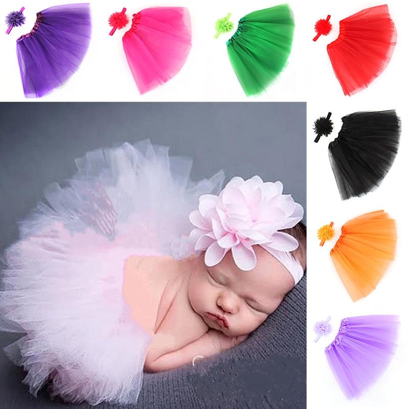 Newborn Baby Girls Tutu Skirt & Headband Outfit Set Photo Shoot Prop Cute Sweet Princess Skirts Baby Clothing New 2019