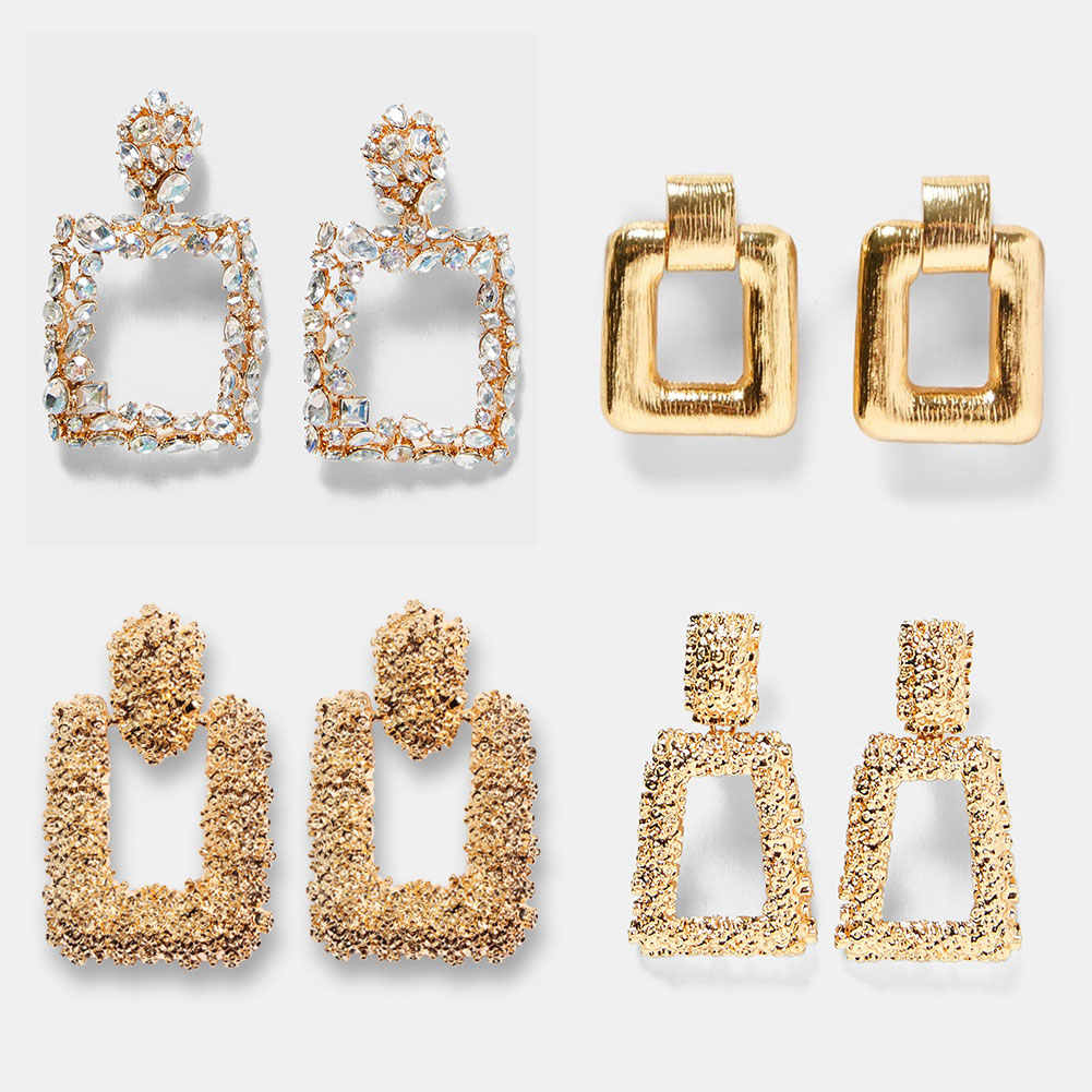 JUST FEEL ZA Golden Metal Square Dangle Earrings For Women Fashion Crystal Maxi Statement Drop Earring Vintage Christmas Jewelry