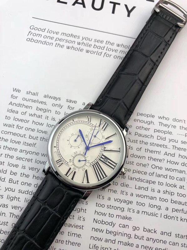 2019 marque de luxe célèbre Unique montre en cuir à Quartz homme grande montre hommes relogio masculino - 2