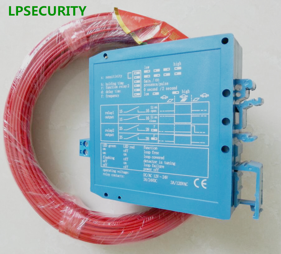 LPSECURITY 12V 24V Car Parking Barrier Loop Detector For Detection Of Vehicles With 164feet Inductive Loop Coil Wire