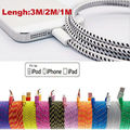 1/2/3M Braided Sync Data Cable USB Charger 4 iphone 5 5c SE 6 6S Plus free shipment