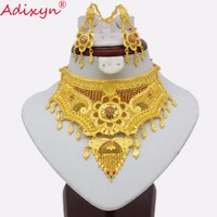 Adixyn Dubai Rope Chain/Earrings Jewelry Set Women Gold Colorful Flowers Jewelry Ethiopian/African Wedding Accessory N03162