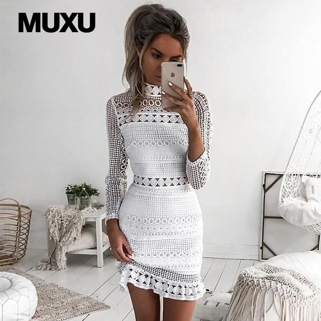 MUXU sexy blanc robe en dentelle robes vêtement pour femme mini patchwork  crayon robe courte dos 7e4ea2c9f7c