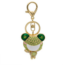 Linnor Lovely Frog Keychains Keyrings Green Crystal Cute Animal Key Chain Holder for Women Car Bag Pendant Key Ring Mujer Bijoux(China)