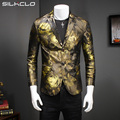 2016 New arrival golden printed 3 Colors flowers style Single Breasted Men's Blazer Casual jacket Men suits Size M to 5XL