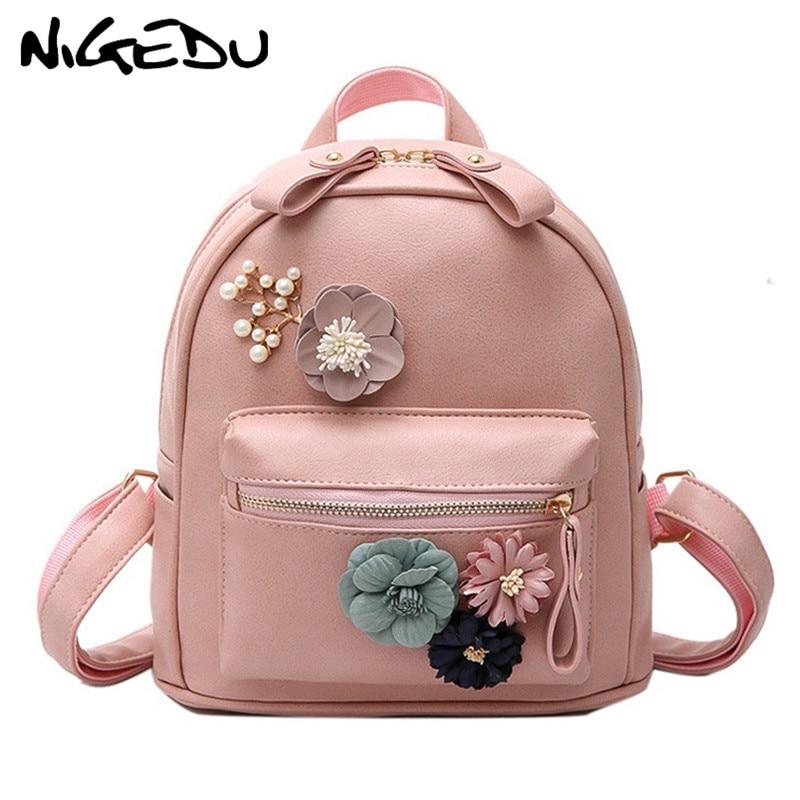 Flower Pearl Women Backpack Small Floral Shoulder Bag Fashion Pu Leather Female Backpacks Teenage Girls School Bags Mochila Pink