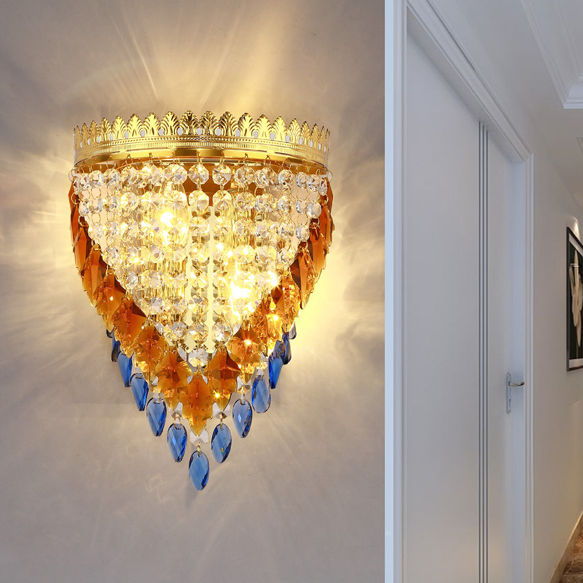 Fashion creation deluxe european style gold Crown led wall lamps Clear blue brown glass crystal bed roon Tv wall sofa wall light heights creation rees v2rus on eastern european studies rest