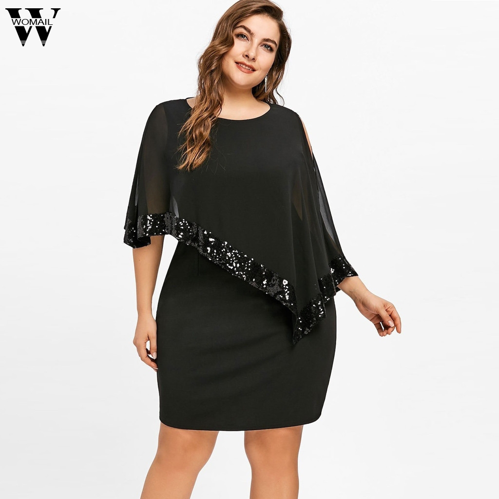 US $8.57 44% OFF|Womail Dress Fashion New Women Plus Size Cold Shoulder  Overlay Asymmetric Chiffon Strapless Sequins Dresses dropship Mar8-in  Dresses ...