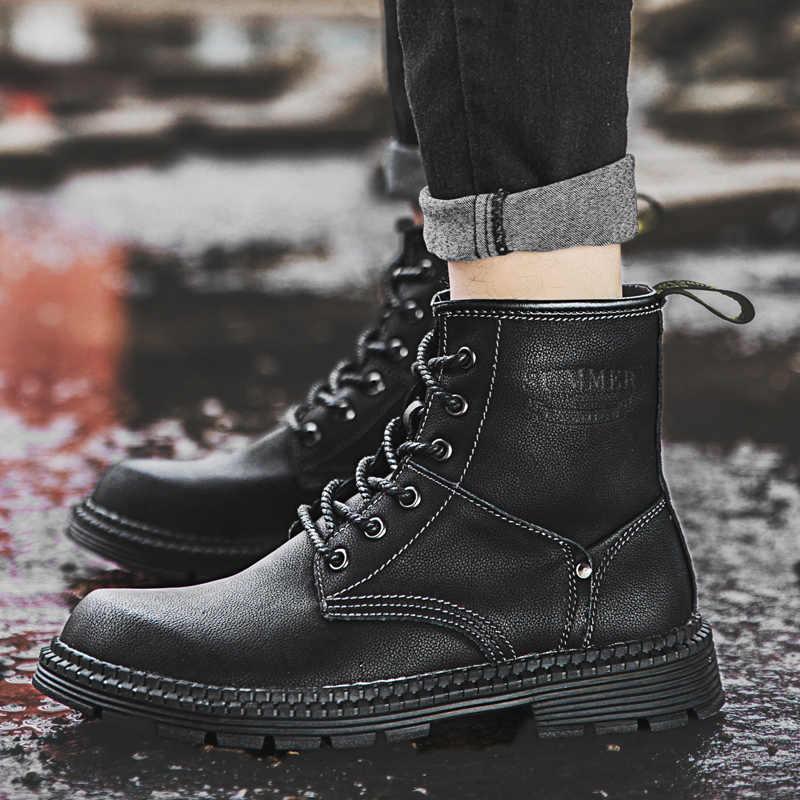 Брендовые зимние мужские теплые ботинки; Плюшевые Теплые высококачественные мужские ботильоны; уличная мужская обувь на шнуровке; нескользящие осенние мотоботы