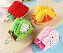 Girls Kids Coin Purse Children's Holiday Gifts Creativity Plush Triangles Fruit Purses Coins Mini bag Key Bags Woman Wallet(China)