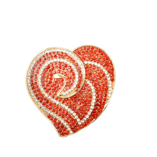 Vintage Heart Shaped Women's Rhinestone Brooch