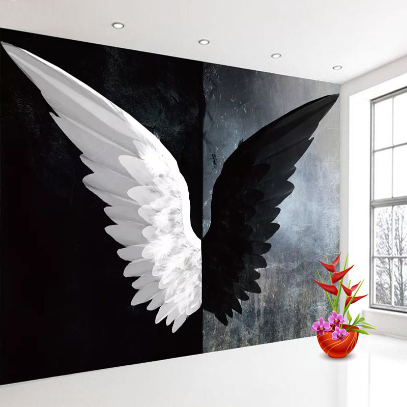 Custom 3D Photo Wallpaper Nordic Modern Creative Black White Angel Wings Art Wall Painting Living Room Bedroom Home Decoration