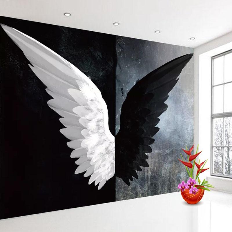 Custom 3D Photo Wallpaper Nordic Modern Creative Black White Angel Wings Art Wall Painting Living Room Bedroom Home Decoration