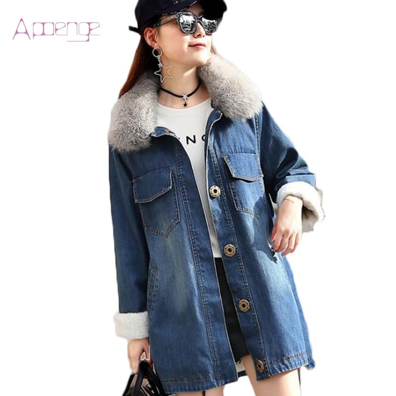 APOENGE Denim <font><b>Jacket</b></font> For Women Winter Real Fox Overcoat Jeans Cotton Parkas 2017 New Button Thick Outerwear Female Coats LZ571