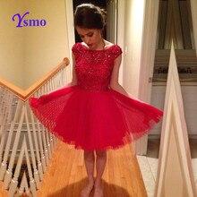 Rot Kurze Heimkehr Kleid 2016 Großen Perlen Eine Linie Homecoming Kleid Ysmo Backless Abendkleider Tulle Sexy Mini Cocktailkleider