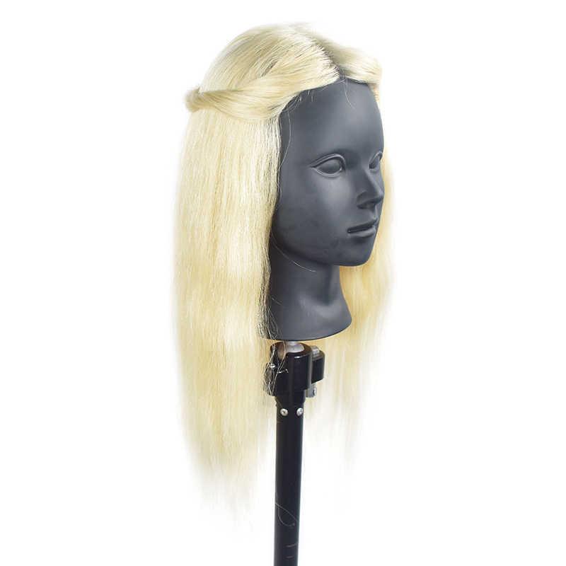 Goedkope Mannequin hoofden 100% Natuurlijk Menselijk Haar Training Mannequin Hoofd Kosmetiek Kappers Make-Up met Lang Haar