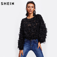 SHEIN Fringe Patch Mesh Top Sexy Autumn Womens Tops And Blouses Black Long Sleeve Round Neck