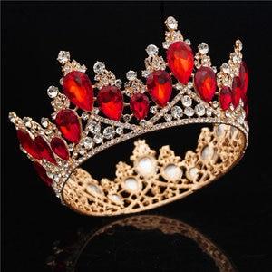 Image 3 - バロッククリスタル女王ティアラ王冠ウェディングパーティー結婚式の髪の宝石のティアラと王冠ヘッドバンドヘッドの装飾品