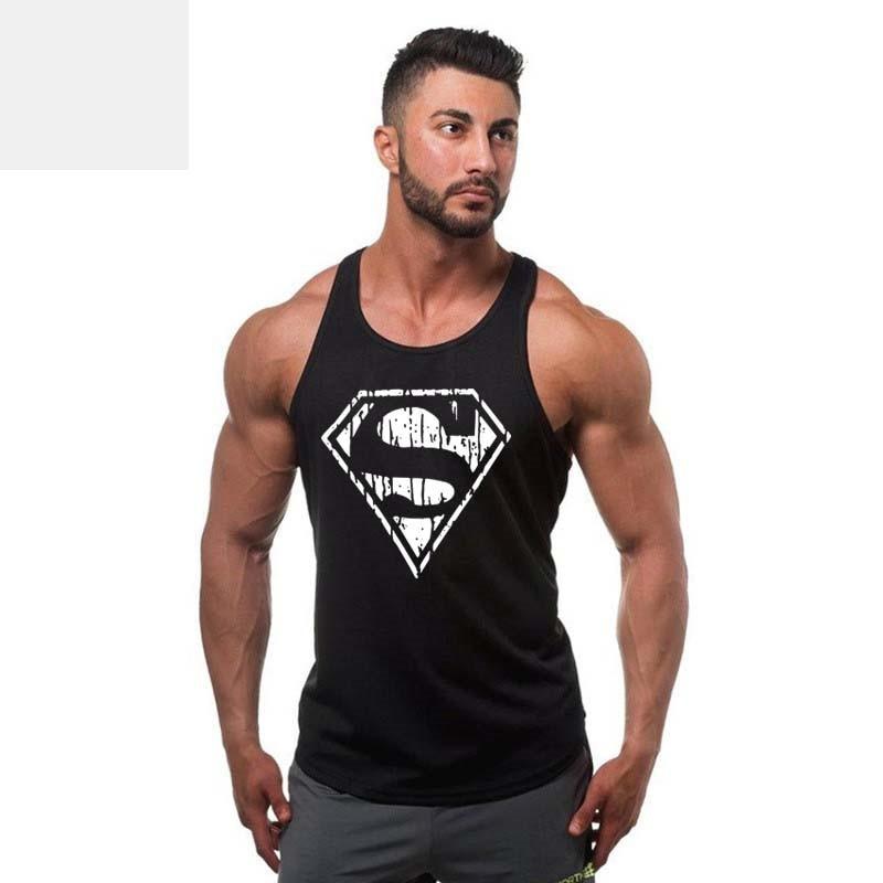 Summer Style Superman Captain America Men's Muscle Fitness Tank Top Gold Stringer Singlet Crime Male Bodybuilding Tanks Vest