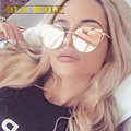 Cat eye mulheres óculos de sol 2016 new espelho cateye moda plana do vintage rosa de ouro de design da marca óculos de sol das senhoras óculos feminino