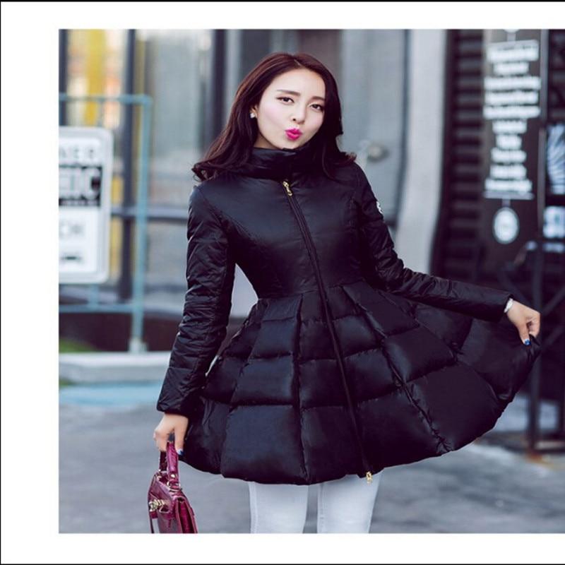 AILOOGE New Fashion Women Winter Warm Down Coat Long Sleeve Solid A Line Long Jacket Coat Women Europe Stand Collar Down Coat