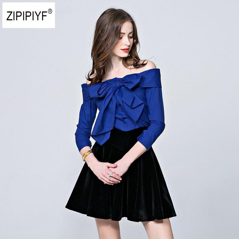 2018 Fashion Sexy Off Shoulder Spring Summer Strapless Women Blouse Bowknot Tops Slash Neck Shirts Casual Elegant Blusas B1092