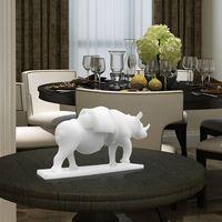 Photosensitive Resin Vivid Rhino with Drawer Sculpture 3D Printed Sculpture Home Desktop Decoration Surrealism Delicate Figurine