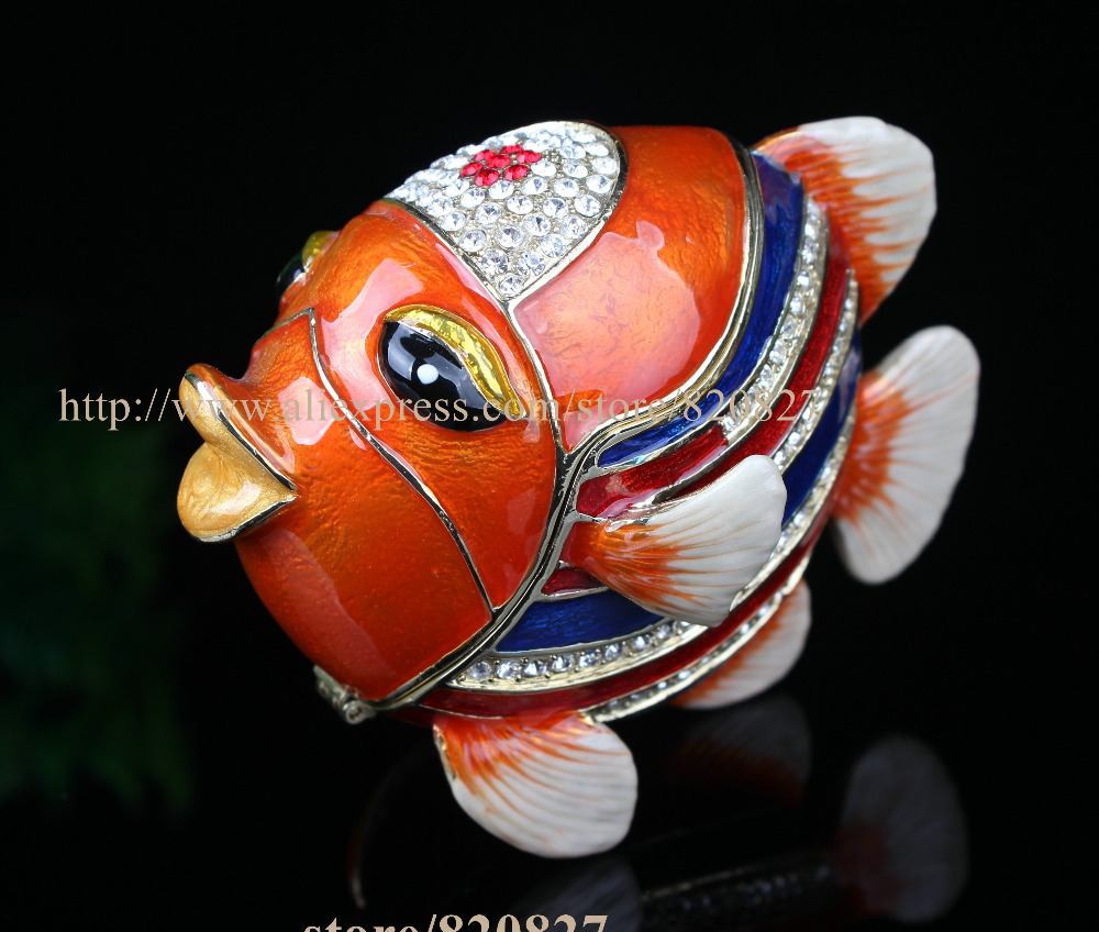 Colorful Tropical Fish Crystals Jewellery Trinket Box Glaze Alloy ...