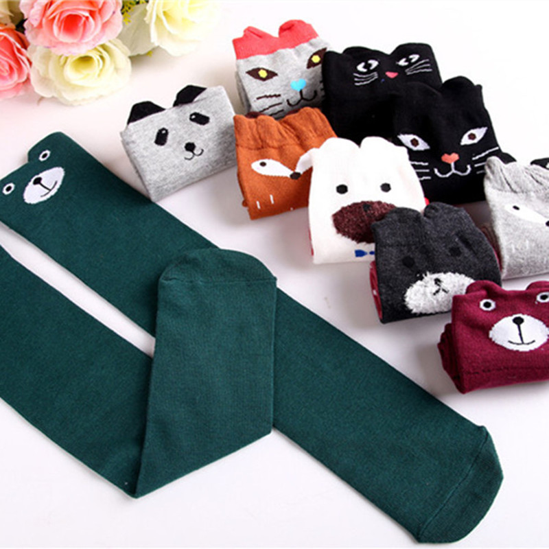 Hot New 35 Styles Children Baby Girls Cute Character Knee Socks Fox Cotton Dancing Socks Leg Warmer Soft Toddler Kids Long Socks