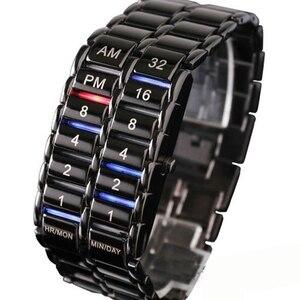 Image 3 - Neue Mode Digitale Uhr Coole Vulkanischen Lava Stil Eisen Faceless Binary LED Handgelenk Uhren für Männer Schwarz/Silber