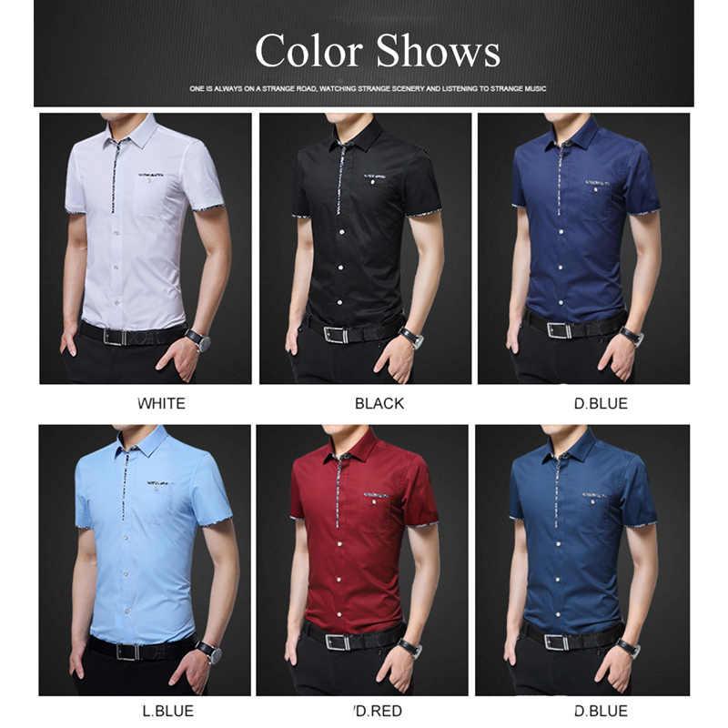 BROWON 夏カジュアルメンズシャツ半袖レギュラーフィットターンダウン襟正式なシャツ男性プラスサイズ 5XL