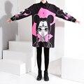 2017 Корейской Моды Женщины Длинные Черные Рубашки Большой Размер Блузка Стандарт Воротник Шаблоны Мультфильм Розовый Печати Рубашки Летние Топы 1585