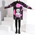 2017 Korean Fashion Women Long Black Shirt Big Size Blouse Standard Collar Patterns Cartoon Pink Print Shirts Summer Tops 1585