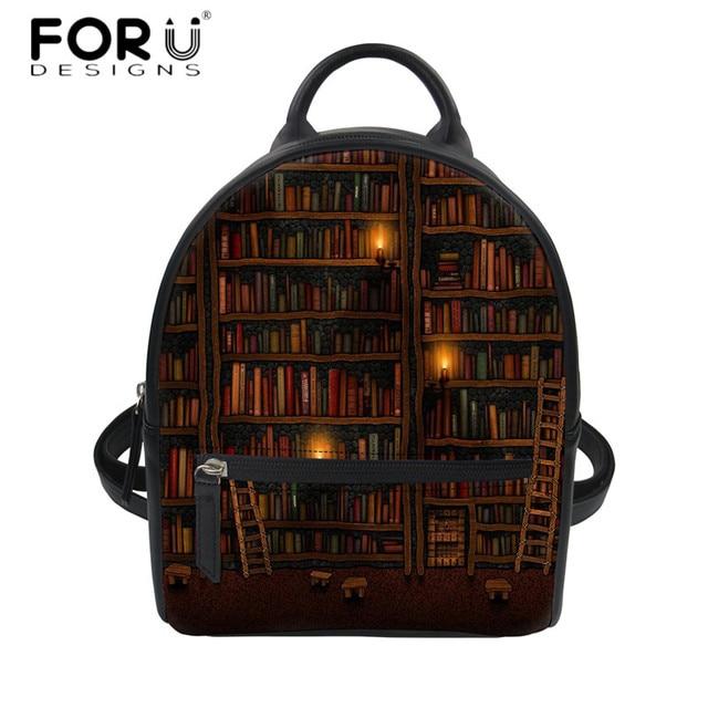 ce81d26ba8 FORUDESIGNS Travel Women Vintage Mini Backpack Cute Book Shelf Sleepy Kitty  Cat Print PU Leather Shoulder Daypack Girls Bagpack