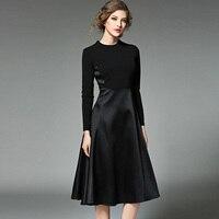 2017 Lente Lange Mouwen Jurken Hoge kwaliteit Solid Black slim Knielengte Herfst Jurk Europa Fashion Brand vrouwen kleding