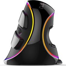 Delux M618 Plus Wired Vertical Ratón Ergonómico Ratón Óptico de Luz RGB 4000 DPI para el Ordenador Portátil Oficina de Juego