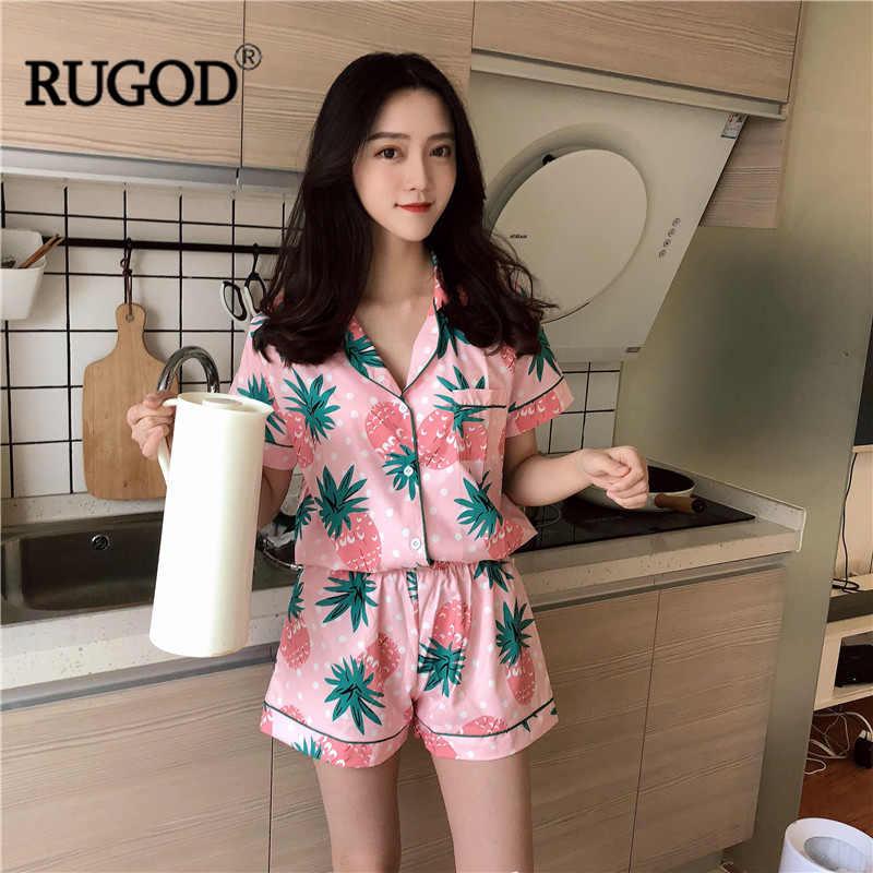 RUGOD Phong Cách Mới Hàn Quốc Thơm Hồng In Hình Pijamas cho Nữ Ngọt Ngào Nữ Tay Ngắn Hai Món Kèm Che Mắt