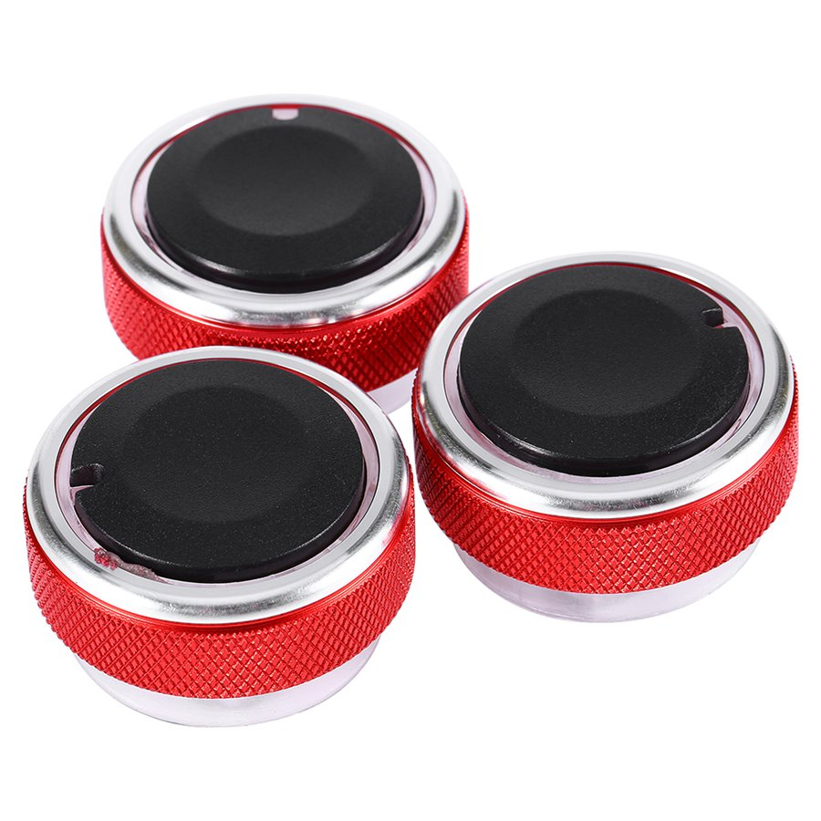 3pcs Set Car AC Knob Aluminum alloy Air Conditioning heat control Switch font b Accessories b